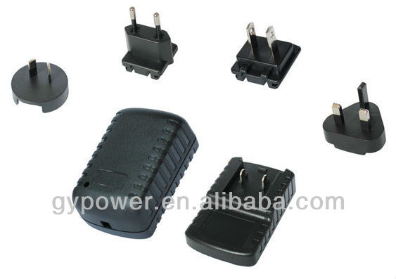 UK EU US AU plugs 5v 2a power adapter interchangeable