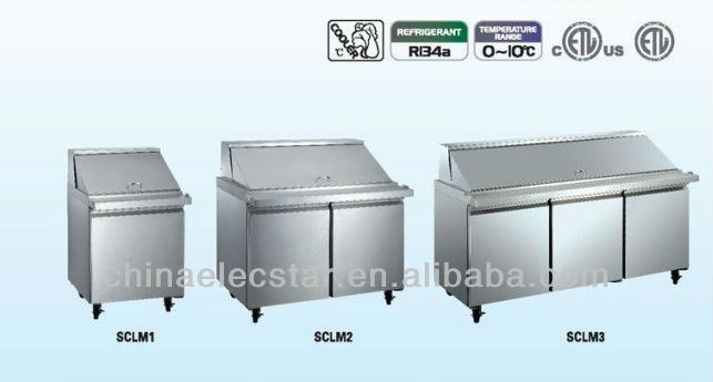 stainless steel Salad Preparation Refrigerator with UL
