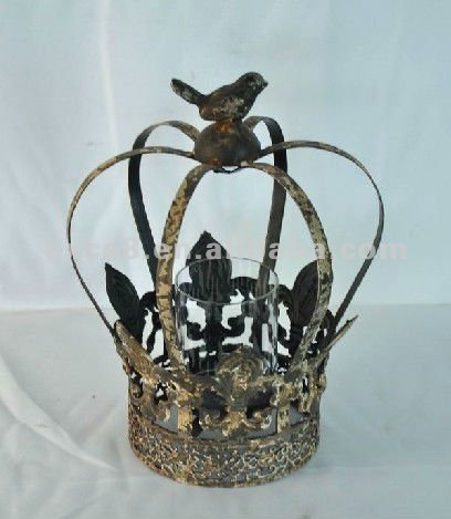 12B022SG-Shabby chic crown metal candle holder