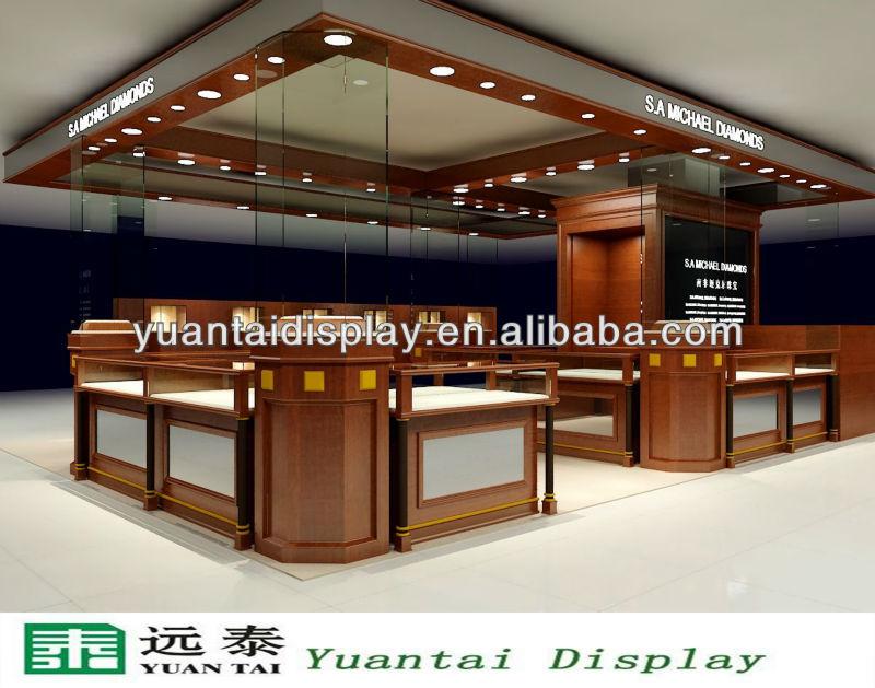 0326016 & Luxury Glass Jewelry Display KioskJewellery Shop Showroom Furniture ...