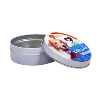small metal round box dog food tin thin box packaging aluminum mint candy container