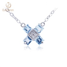 Women Gender <strong>Necklace</strong> S925 0.8ct Natural Swiss Blue Topaz Cross Gemstone Jewelry