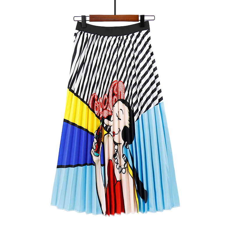 Cola girl New design elastic waist plus size long women pleated skirts