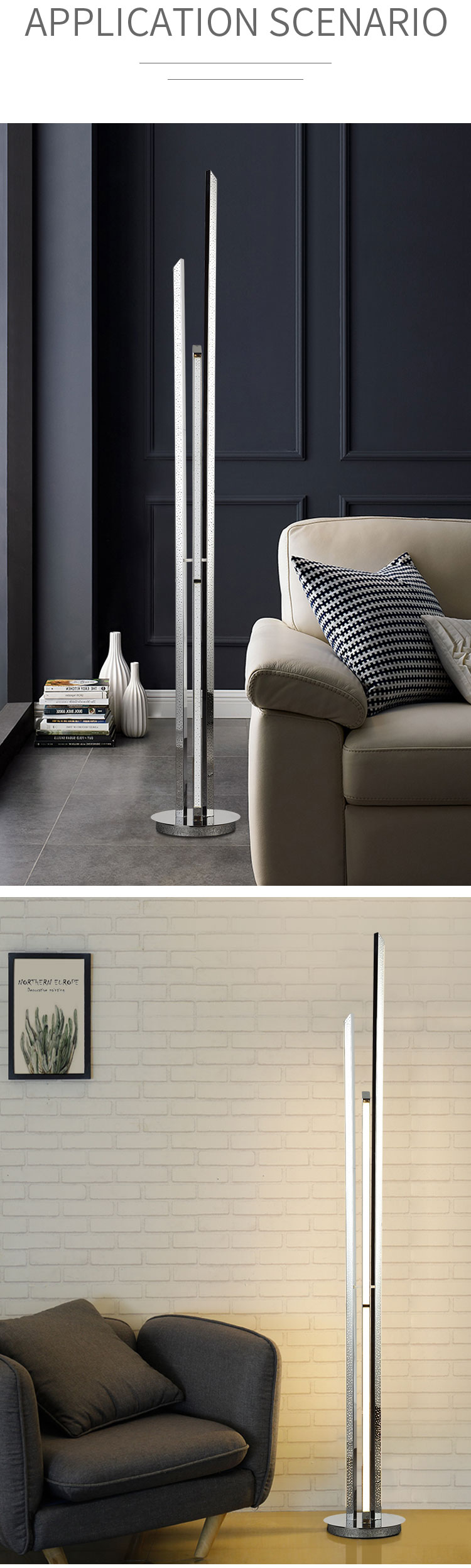 High quality Chrome floor standing lamp decorative metal aluminium acryl modern fancy floor lamp SMD 31W wooden floor lamp