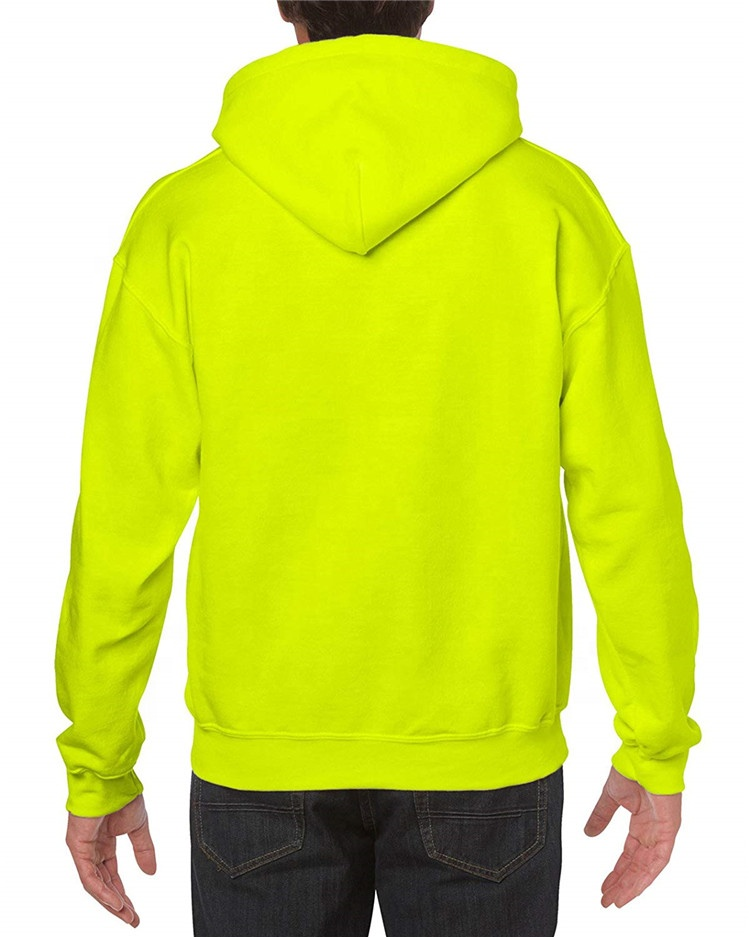Custom Made Cheap Hooded Sweatshirts Wholesale Men's Neon Orange Blank Hoodies Heavyweight Pullover Hoodies Sweatshirts