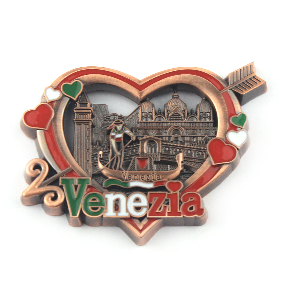 Venenzia custom metal countries souvenir fridge magnet tourist tower building boat shape city name souvenir fridge magnet