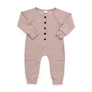 Newborn baby clothes kids clothing buttons front cuff long sleeve with pockets pink organic cotton ribbed baby romper