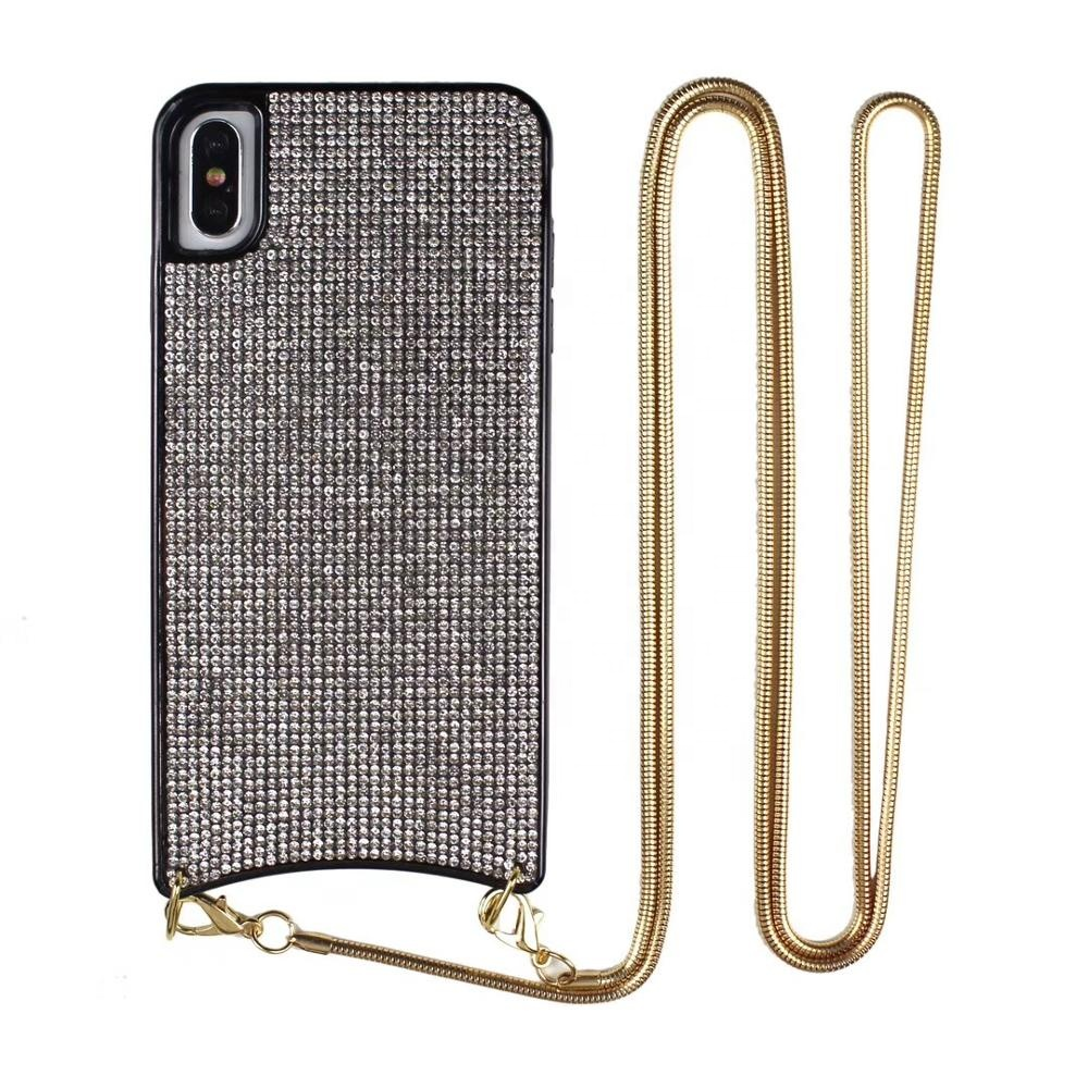 Luxury Bling Diamond Crossbody Cell Chain bag Phone Case With Necklace For Samsung <strong>10</strong>/plus <strong>10</strong>