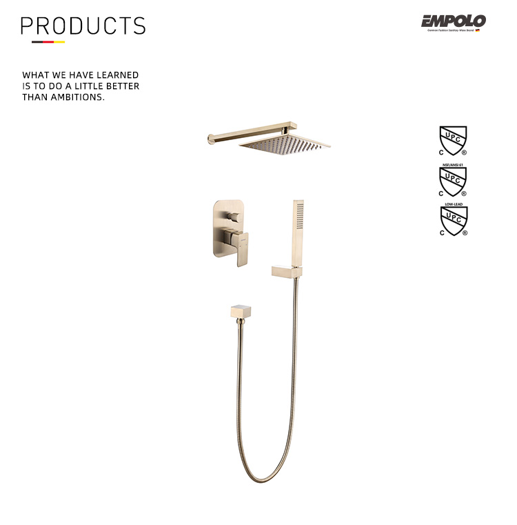 Bathroom Luxury Brass Brushed Gold Wall Mount Rainfall Shower System Mixer