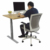 Gray Height Adjustable Standing Desk Table Frame without Side Holes