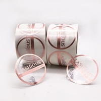 Custom Printing Adhesive Transparent Clear Private Logo Gold Foil Hot Stamping Sticker Label Roll