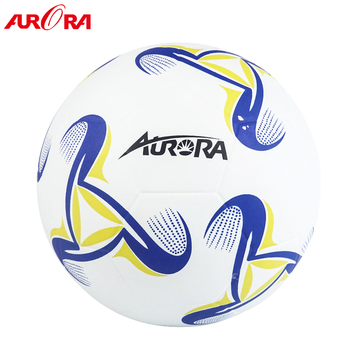 high quality white-blue-yellow custom rubber football ball size 4 soccer training ball