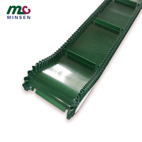 Green T-type non slip baffle belt, factory price PVC / PU skirt baffle customized climbing food conveyor belt manufacturer