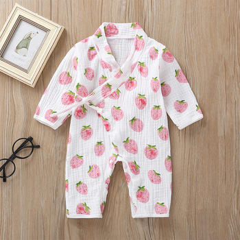 Strawberry Floral Printed Long Frock Baby Girl Rompers Infant Kids Clothes Kimono Princess Autumn Rompers Jumpsuit