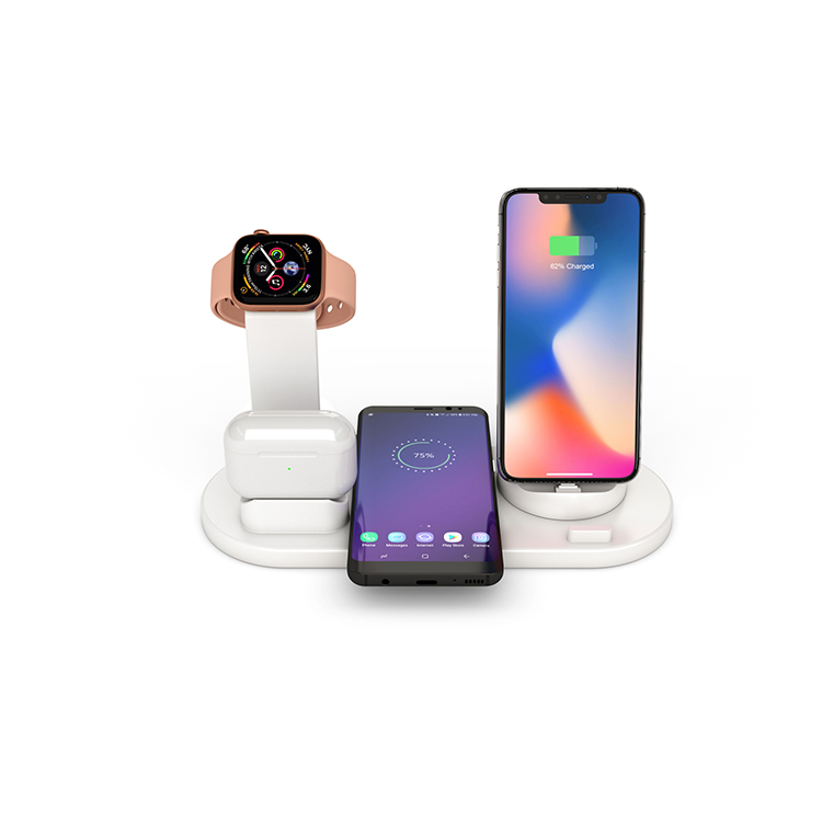 New Arrival 4 In 1 Mobile Phone Charging Dock Stand 10w Qi Fast Wireless Charger Station For Airpods For Apple <strong>Watch</strong>