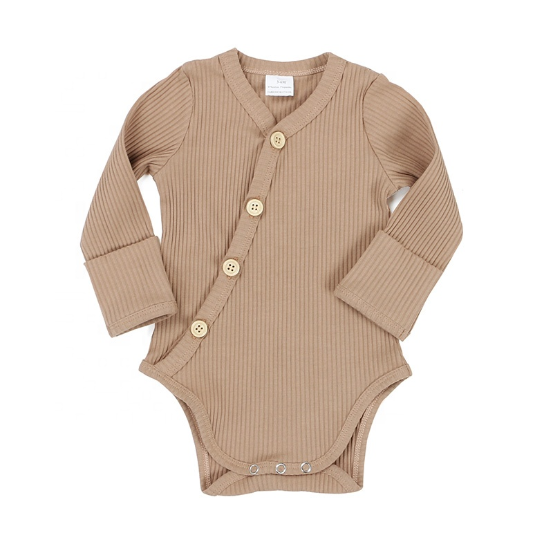 Baby clothes <strong>spring</strong> fall solid brown wood button mitten cuff long sleeves knit cotton ribbed baby onesie kimino romper
