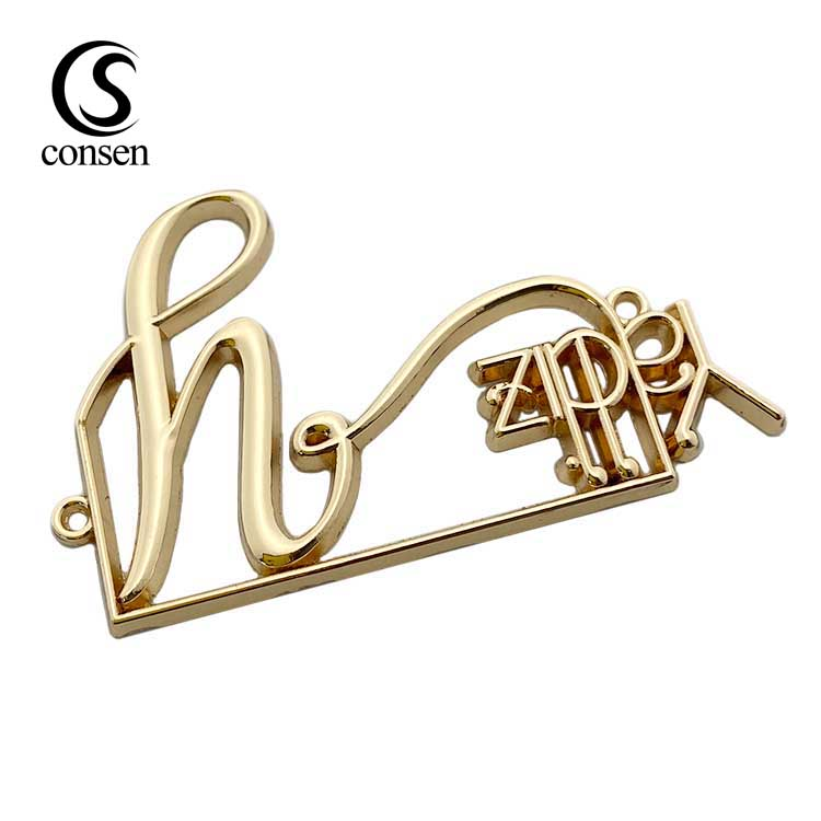 Plating 2 hole  gold custom brand logo sew label metal tag for garment