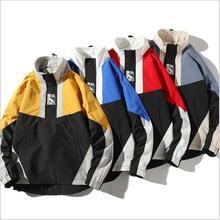 Spring Autumn <strong>Men</strong> Clothes Fashion Color Block Loose Pullover Coat <strong>Men</strong> Windbreaker <strong>Jacket</strong>