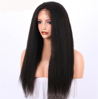 cheap afro Kinky Straight Transparent Lace Front Wig Synthetic for Black Women