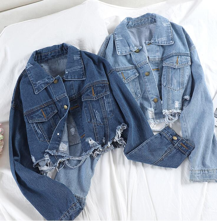 Spring Autumn Women's Ripped <strong>Hole</strong> Casual Loose Denim Jacket Spring Autumn Women's Ripped <strong>Hole</strong> Casual Loose