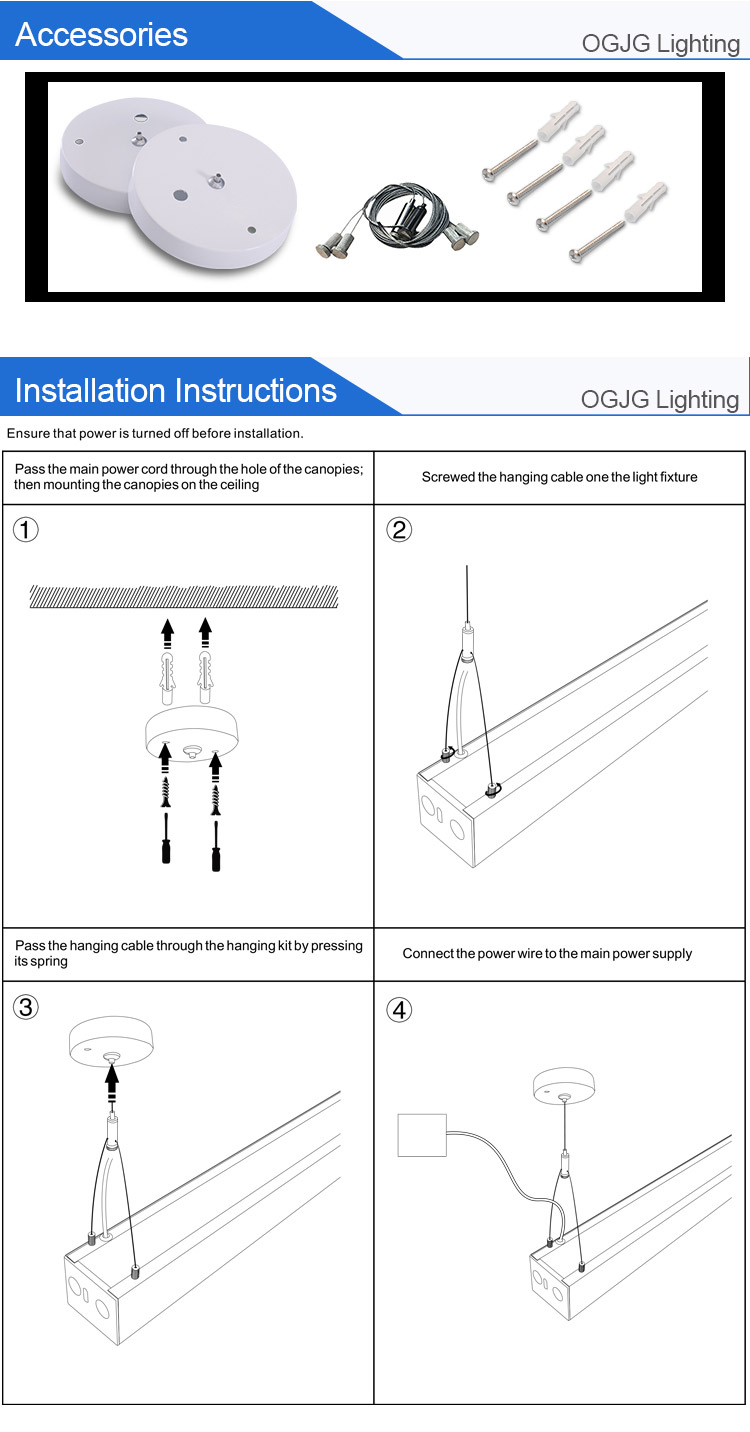 OGJG Pendant Linkable up and down lighting fixture for office supermarket hospital