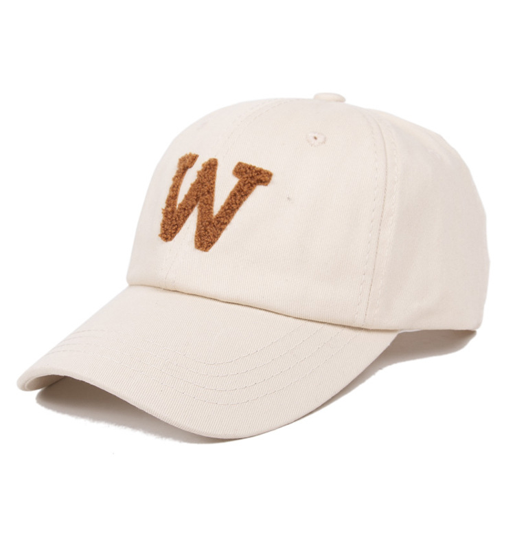 Winter fashion <strong>W</strong> letter embroidery Korean couple baseball cap men simple wild soft top sports hat