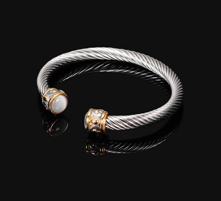 Couple Lover Fashion Surgical Stainless Steel Thick Twisted Rope Wire Deluxe Two Tones Crystal Caps Open Cuff Bangles Bracelets
