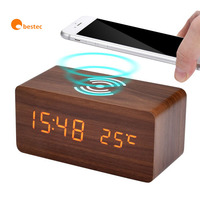 Christmas gift Multi-function Digital Qi Fast Wooden Wireless Charger Alarm Clock