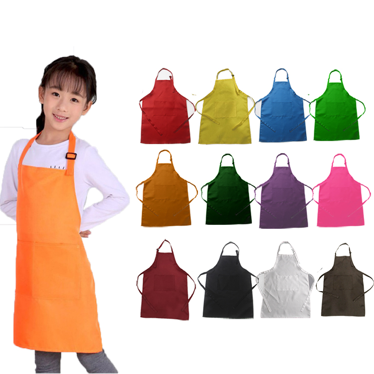 Factory price direct <strong>sales</strong> cute style children solid color polyester apron kids aprons