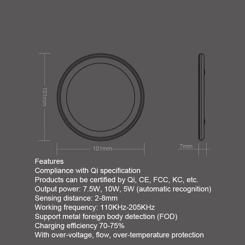 Wireless Charger,Qi-Certified 10W Fast Wireless Charger for Galaxy S10/S9/S8/Note 9, Standard for iPhone XR/XS MAX