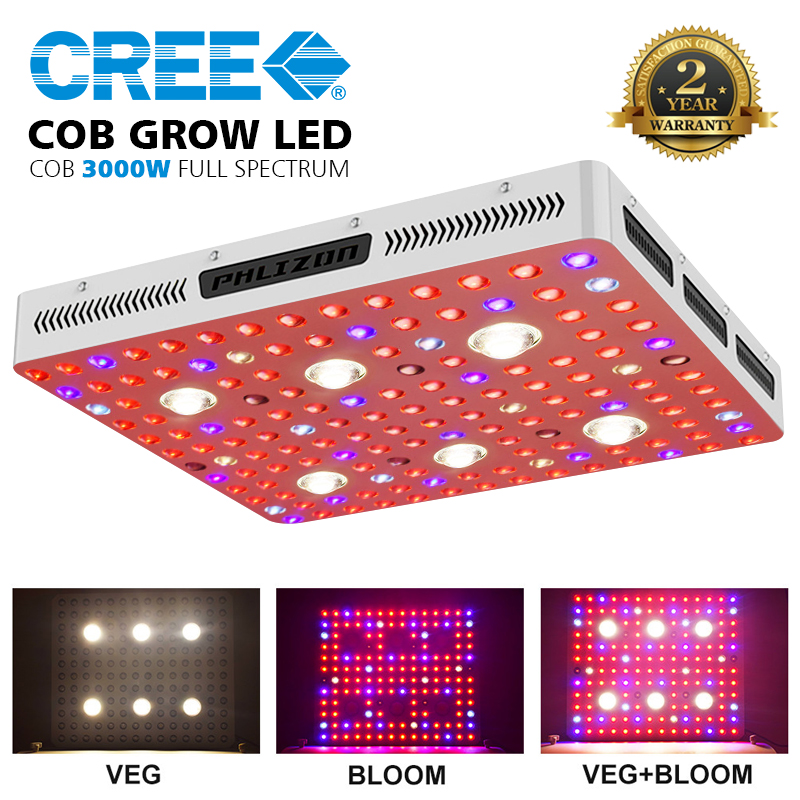 Phlizon 1000w 2000w 3000w Full Spectrum 380-780nm COB led grow light kit for Greenhouse horticulture and Indoor Plants