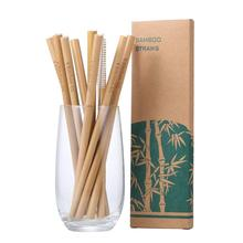 Organic Reusable Bamboo Straws with Coconut Fiber <strong>Brush</strong> 8 inch Long Drinking Biodegradable Kids and Adults Case for Travel