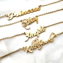 Jiushang fashion sterling 925 sterling silver plated letter custom name plate jewelry personalised necklace for women