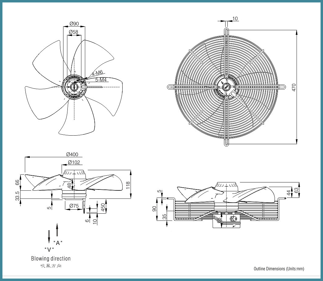 400mm 1400rpm external rotor motor ventilating standing axial cooling fan for chiller FJ4E-400.FGV
