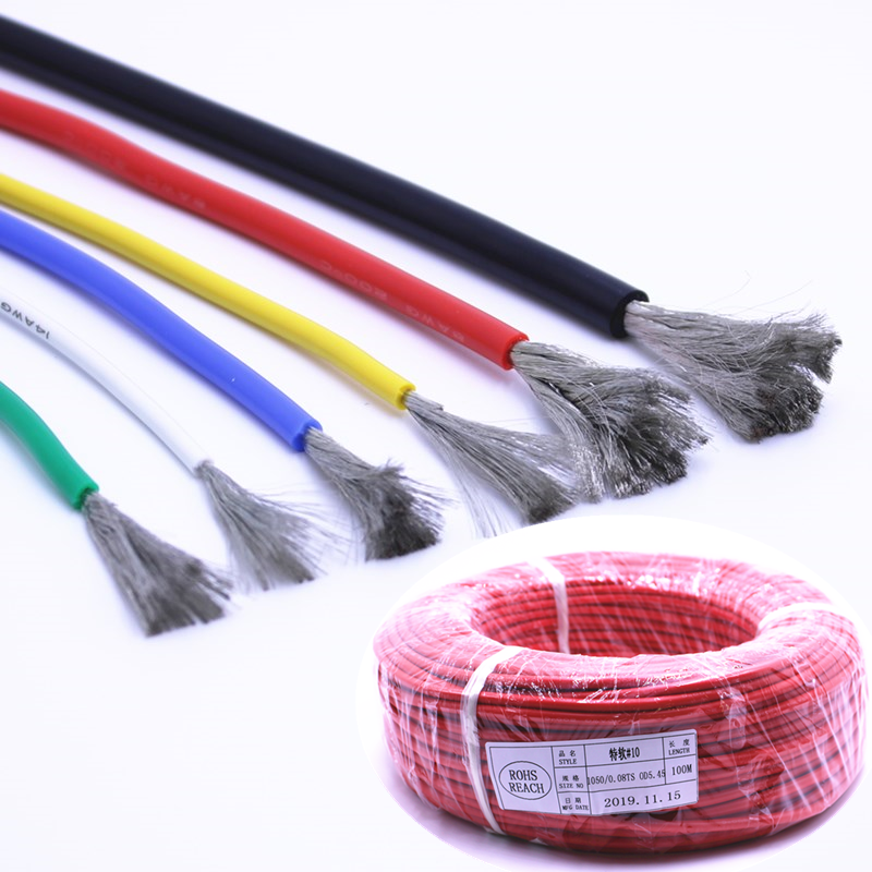 Silicone wire 10AWG 1050 / 0.08 tin plated pure <strong>copper</strong> 200 degree RC Lipo battery high temperature resistant soft silicone cable