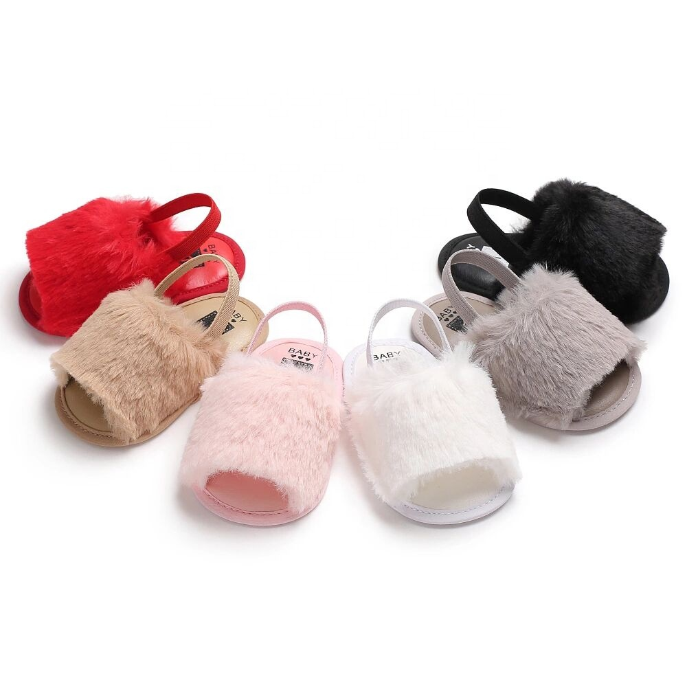 Wholesale Infant Fur Sandals Summer Girl Fancy Cute Baby Furry <strong>Slippers</strong>