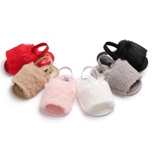 Wholesale Infant Fur Sandals Summer Girl Fancy Cute Baby Furry Slippers