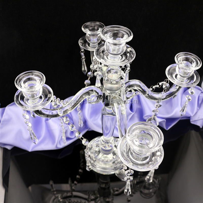 cheaper wedding crystal candelabra /candle holder 5 arms crystal candelabra/5 arms wedding centerpieces candelabra for wedding