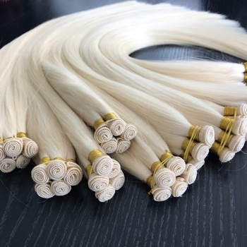 hand tied weft hair extension double drawn European blonde human hair weave bundles