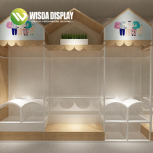China manufacturer children clothes store wood display racks <strong>shelf</strong>