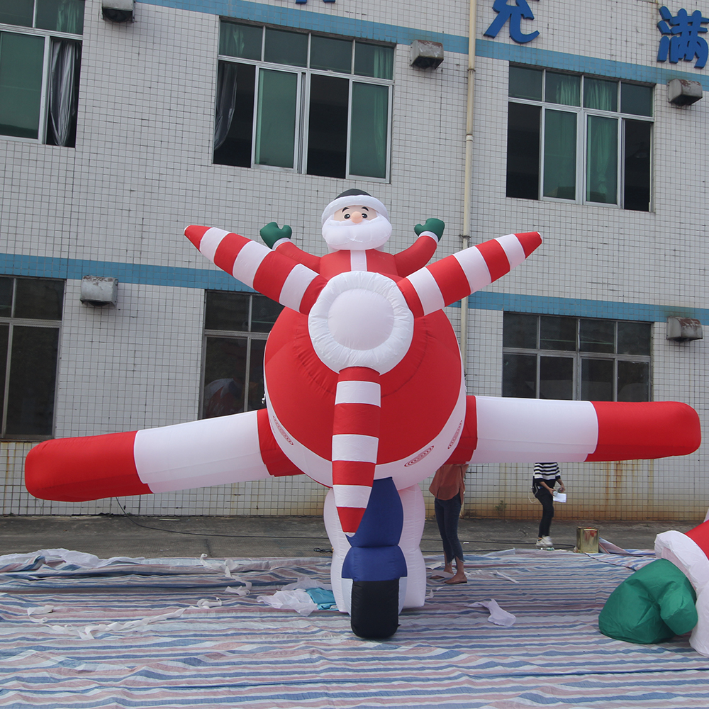 Giant Inflatable Santa Claus Plane Large Christmas Inflatables