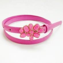 fashion pu leather <strong>belts</strong> with flower buckle