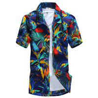 In Stock Flower printed Shirts for Men Short-sleeved Holiday Casual Street beach hawaiian shirt