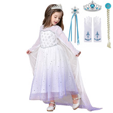 New Girl Elsa 2 Dress Kids Long Sleeve Dress White Star Sequins Elsa Princess Dress Halloween Girls Elsa Cosplay Costume