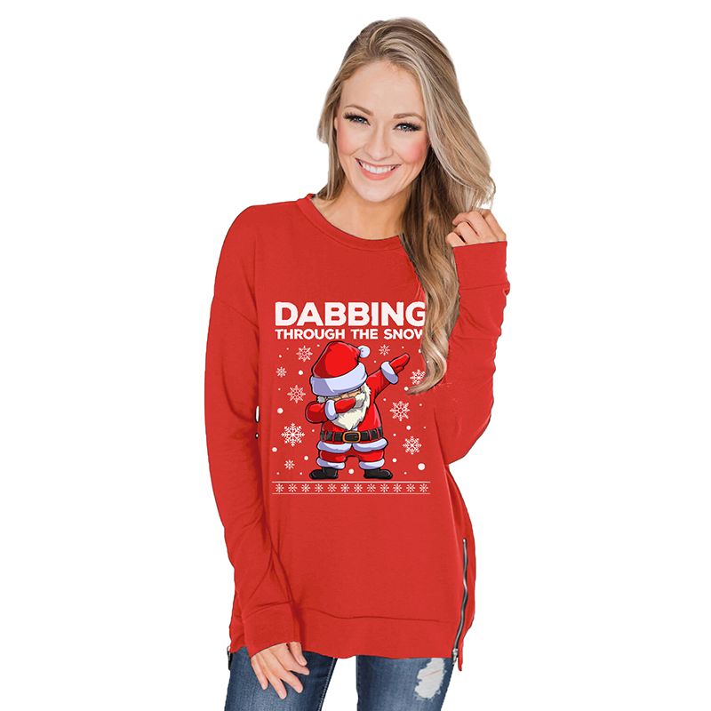 Hot Selling Women Christmas Sweatshirt Cartoon Print Hoodie