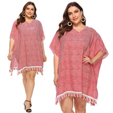 Guangzhou <strong>manufacturer</strong> wholesale sun protection <strong>clothing</strong> plus size tassel detail cover ups
