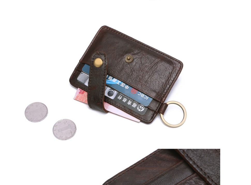 Vintage horse leather multi-function credit card key ring rfid card holder