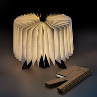 USB Rechargeable LED Wooden Fold Book R Shape Atmosphere Light Desk Night Lamp