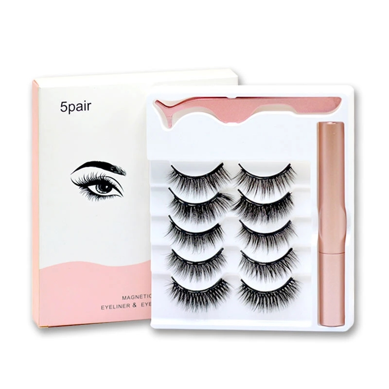 magnetic eyelashes with eyeliner private label with tweezers 5pairs magnetic eyelashes