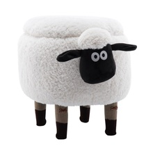 Upholstered Fauxr sheep Shape storable Ottoman stool for child